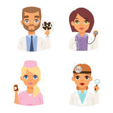 Doctors spetialists faces vector set. Group of doctors and nurses and medical staff people. Medical team doctors specialists concept in flat design people Stock Images