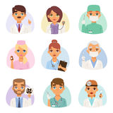 Doctors spetialists vector set. Group of doctors and nurses and medical staff people. Medical team doctors specialists concept in flat design people characters Royalty Free Stock Photo