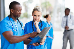 Doctors studying x-ray film. Professional doctors studying x-ray film royalty free stock photo