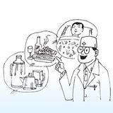 Doctors suggestions. Hand drawn illustration of a doctor making suggestions - sleep, healthy food, water stock illustration