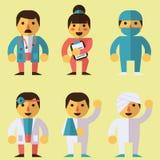 Doctors, surgeon, nurse, patients. Set of characters in a flat style. Doctors, surgeon, nurse, patients stock illustration