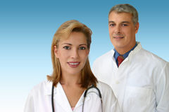 Doctors team. Two young doctors royalty free stock photography