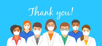 Doctors team in face masks with thank you text