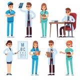 Doctors team. Medical staff people doctor nurse surgeon pharmacist dentist professional medic hospital uniform, flat royalty free illustration