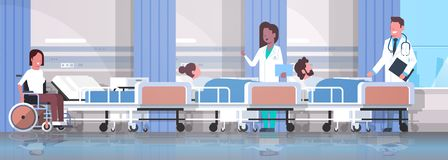 Doctors team visiting disabled mix race patients sitting wheelchair lying bed intensive therapy ward healthcare concept vector illustration
