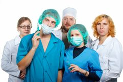 Doctors teamwork. Isolated. Stock Images