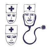 Doctors. Three icon faces Royalty Free Stock Photography