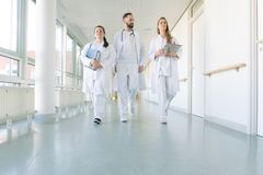 Doctors, two women and a man, in hospital. Walking down the corridor royalty free stock photography