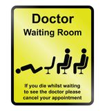Doctors waiting room Information Sign. Comical doctors waiting room public information sign isolated on yellow background Stock Photography