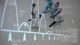 Doctors walking on lobby hospital. Moving graph on foreground with irregular curves on abscissa. Digital animation of multi ethnic doctors walking on lobby stock footage
