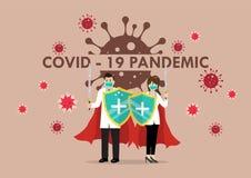 Doctors With Shield Sword Prepare To Fighting Coronavirus Poster Stock Photo