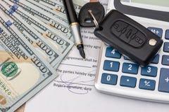 documant,美元、笔、计算器和玩具汽车 免版税库存照片