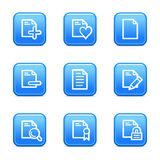 Document 2 web icons. Vector web icons, blue glossy buttons series, V2 Royalty Free Stock Photos