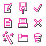 Document 2 web icons, pink contour series Royalty Free Stock Photography