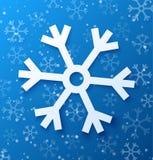 Document abstracte sneeuwvlok op blauwe achtergrond Stock Afbeelding