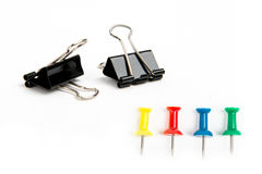 Document accessories. Clips and thumbtacks for documents Royalty Free Stock Image