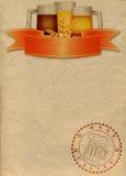 Document achtergrond met drie mokken bier vector illustratie