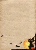 Document achtergrond voor Halloween wordt gestileerd dat Kader met zwarte kat royalty-vrije illustratie