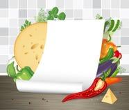 Document affiche of perkamentrol met groenten Restaurantmenu of receptenmalplaatje Leeg gekruld leeg document blad op lijst Royalty-vrije Stock Fotografie