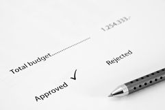 Document approved budget Royalty Free Stock Image
