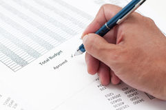 Document approved budget Stock Photography