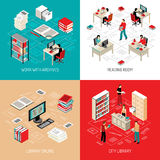 Document Archive Library 4 Isometric Icons. City library reading room with online archive and catalog access 4 isometric icons square abstract vector vector illustration
