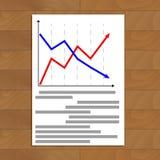 Document with arrow chart. Diagram analysis plan, vector illustration Stock Photos