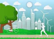 Document art. de mens loopt in stadsparken, ecologieidee Vector illustratieachtergrond Royalty-vrije Stock Afbeelding