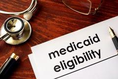 Document avec l'éligibilité de medicaid de titre photo libre de droits