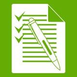 Document avec le vert de plan et d'icône de stylo Photos libres de droits