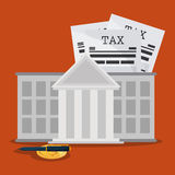 Document bank coin and pen icon. Tax and Financial item. Vector Stock Image