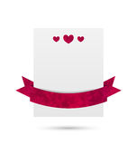 Document banner met harten en lint voor geïsoleerd Valentine Day, Royalty-vrije Stock Foto