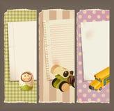 Document, banners & speelgoed Stock Foto