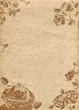 Document in beige kleurentoon met ornament in vorm van rozen Stock Afbeeldingen