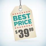 Document beste prijskaartje Stock Afbeeldingen