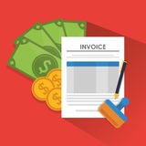 Document bills coins paymet financial item. Document bills coins payment financial item icon. Invoice design, vector illustration Royalty Free Stock Images