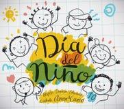 Document Blad met Jonge geitjes die voor Spaanse Kinderen` s Dag trekken, Vectorillustratie vector illustratie