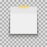 Document blad op doorzichtige kleverige band met schaduw Leeg notamalplaatje voor uw ontwerp Vector illustratie royalty-vrije illustratie