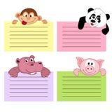 Document bladmalplaatje met dieren Stock Afbeeldingen