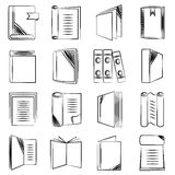 Document and book icons. Set of 16 document and book icons in white background Royalty Free Stock Photos