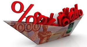 Document boot van een Russisch bankbiljet met de symbolen van een percent Royalty-vrije Stock Afbeelding