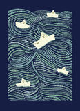 Document boten die ruwe overzeese golven varen stock illustratie