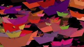Document boten in diverse kleuren op zwarte stock video