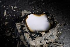 Document brandwonden op de zwarte achtergrond met exemplaar ruimteteksten stock afbeeldingen