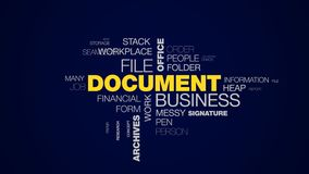 Document business file office finance bureaucracy organization paperwork letter archives contract animated word cloud. Background in uhd 4k 3840 2160 stock video footage