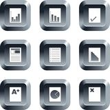 Document buttons. Collection of document icons set on keypad style buttons stock image