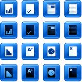 Document buttons. Collection of blue square document rollover buttons Royalty Free Stock Photography