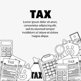 Document calculator bag piggy lupe icon. Tax design. Silhouette and flat illustration Stock Photography