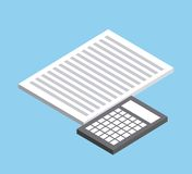 Document and calculator icon. Isometric design. Vector graphic Royalty Free Stock Images