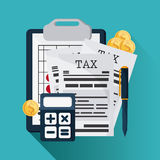 Document and calculator icon. Tax and Financial item. Vector gra. Tax and Financial item concept represented by document and calculator icon. Colorfull and flat Royalty Free Stock Image